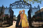 Di Butler (left) and Jill Farrar framed by the gateway in Aotea Square. Photo / Chris Gorman
