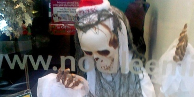 """Recycling halloween decorations: """"I hope now that Noel Leeming is sold to The Warehouse Group, that someone from the red shed will give them a few lessons in Christmas decoration,"""" says a reader. Photo / Supplied"""