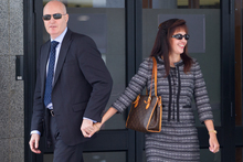 Anita Killeen (right) a former SFO chief prosecutor, leaving Auckland District Court with husband Simon Vannini this week. Photo / Sarah Ivey