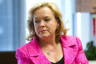 Judith Collins didn't think shocking pink was inappropriate at the press conference on Thursday. Photo / Mark Mitchell