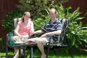 David Bain and fiancee Liz Davies at home in Christchurch yesterday.  Photo / Jason Boa