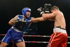 Rene Ranger, left, and Greg Bird trade punches at the charity event last night. Photo / PHOTOSPORT.CO.NZ.