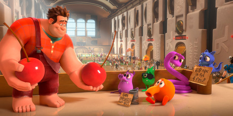 Ralph, left, voiced by John C. Reilly in a scene from new Disney animation, 'Wreck-It Ralph.' Photo / Supplied