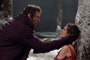 Hugh Jackman as Jean Valjean, left, and Anne Hathaway as Fantine in a scene from Les Miserables. Photo / Supplied