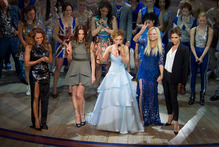 Mel B, Mel C, Geri Halliwell, Emma Bunton and Victoria Beckham came on stage at the curtain call - they say they love the show. The critics are not so enamoured. Photo / AP