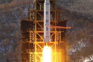 North Korea's Unha-3 rocket lifts off from the Sohae launch pad in Tongchang-ri, North Korea. Photo / AP