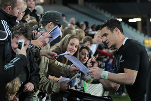 Dan Carter is a hit with the fans, but the NZRU has sidestepped him as a potential choice for their player of the year. Photo / Brett Phibbs