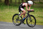 Jo Lawn won her first Taupo half ironman. Photo / APN