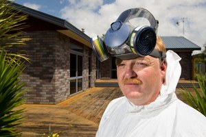 Forensic consultant Todd Sheppard at a home he stopped from being auctioned because it is contaminated from being a P Lab, near Whatawhata, Waikato region. Photo / Stephen Barker