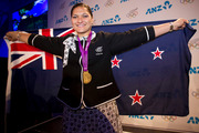 Valerie Adams receives her London Olympics gold medal at a ceremony in Auckland. Photo / Greg Bowker