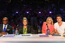 X Factor judges, from left, L.A. Reid, Demi Lovato, Britney Spears and Simon Cowell. Photo / Supplied