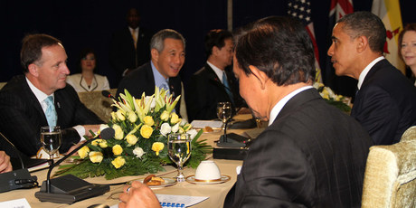 John Key and the other TPPA leaders meeting in Phnom Penh last month. Photo / Alan Gibson