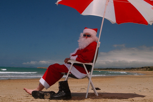 After steaming in his red suit Santa Claus will need a fresh sea breeze. Photo / APN