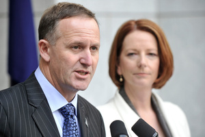New Zealand Prime Minister John Key, left, with Australian Prime Minister Julia Gillard  Photo / NZPA