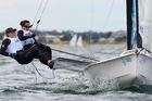 Alexandra Maloney and Molly Meech won the 49erFX skiff class in Melbourne. Photo / Sport the library / Jeff Crow