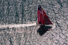 Emirates Team New Zealand testing the AC72 on the Hauraki Gulf. Photo / ETNZ