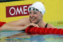Lauren Boyle after winning the 800m freestyle gold medal at the FINA World Championships. Photo /  Ian MacNicol