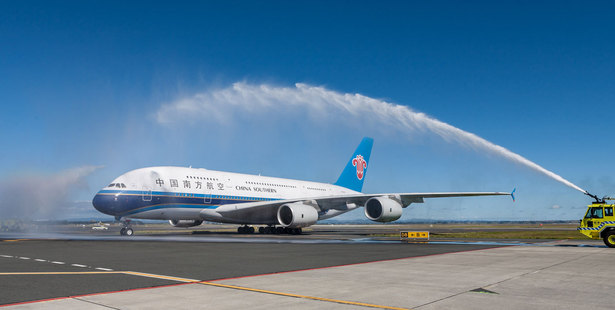 China Southern Airlines' Airbus A380 was given a water-arch welcome by firefighters when it landed at Auckland Airport yesterday. Photo / Supplied