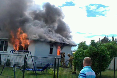 The fire tore through a Maraenui Housing New Zealand house. Photo / Hawke's Bay Today