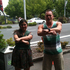 Caleb's boss at Tank and their busker Ruby doing Gangnam Style in Taupo at 12:12:12. Photo / Caleb Snowdon