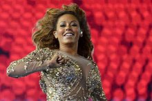 Mel B practicing for the Olympics closing ceremony. Photo/AP