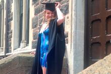 University of Otago graduand Elena Berg in her graduation regalia yesterday. Photo / Supplied