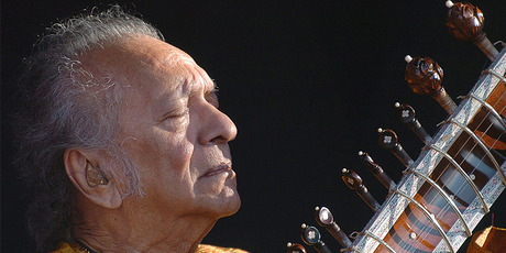 Ravi Shankar performing in Switzerland. Photo/AP