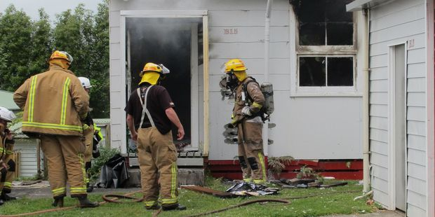 Waihi volunteer fire fighters were quickly on the scene of a fire in an unoccupied classroom at Waihi College. Photo / Fritha Tagg