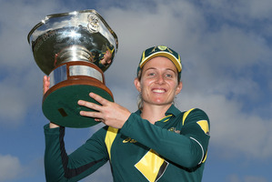 Australian captain Jodie Fields poses with the Rose Bowl after winning game four against the White Ferns. Photo / Getty Images