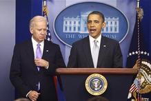 President Barack Obama stands with V