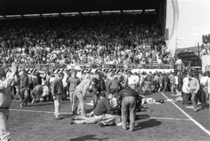 The 1989 Hillsborough tragedy that saw 96 Liverpool fans crushed to death. Photo / AP