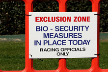 A barricade stopped the public getting to close to the horses when racing resumed after the outbreak of the equine influenza. Photo / Getty Images