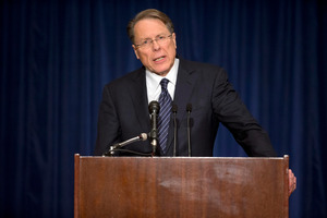 """The only thing that stops a bad guy with a gun is a good guy with a gun,""  Wayne LaPierre. Photo / AP"
