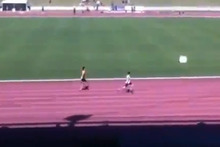 The future of Australian sprinting could be filled with Olympic medals if the stunning video of 12-year old James Gallaugher running at a school relay race is anything to go by. Photo / Youtube.