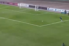 When a goalkeeper takes a defensive free-kick, there really is no excuse for the ball to go backwards. Photo / Youtube.