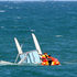 Coastguard rescue a stranded boatie after his catamaran vessel capsized off Westshore, Napier.  Photo / Paul Taylor