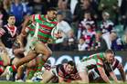 Nathan Merritt of the Rabbitohs runs forward as part of the play for the match winning try during the round 19 match between the Sydney Roosters and the South Sydney Rabbitohs. Photo / Getty Images.