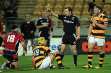 Glen Jackson has enjoyed a meteoric rise as a referee, from school games to tests in two years. Photo / Getty Images