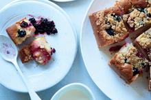 Blackberry and plum streusel cake from Easy, Bill Granger's latest cookbook. Photo / Mikkel Vang