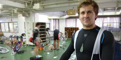 Simon Van Velthooven in the mechanic area at his Japanese racing team. Photo / Michael Burgess