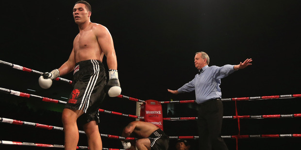 The referee calls off the fight after Joseph Parker knocks down Richard Tutaki. Photo / Getty Images