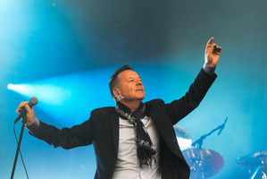Simple Minds frontman Jim Kerr milked the audience as if he was on a dairy farm. Photo / Geoff Walker