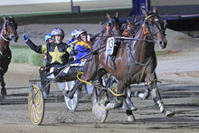 Caribbean Blaster kept the Kiwi challengers at bay in the Victoria Cup at Melton on Saturday. Photo / Stuart McCormick