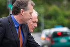 Marcus Friedlander (R) leaving the Auckland High Court with his lawyer, Rob Hucker this morning. Photo Sarah Ivey.
