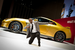 Olympic champion Usain Bolt with the one-off GTR. Proceeds from the sale will go to the Usain Bolt Foundation.Picture/Supplied