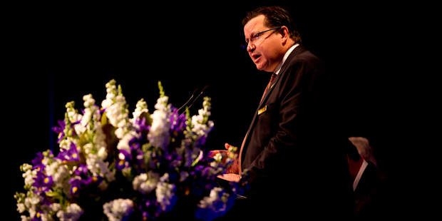 SkyCity boss Nigel Morrison addresses shareholders during the AGM in October. Photo / Dean Purcell.