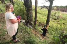 Family pay a visit to the site of a crash that killed a family of five on State Highway 32. Photo / Ben Fraser