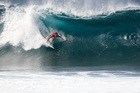 Joel Parkinson of Coolangatta, Australia pulls into the barrel at Pipeline on his road to claiming the world surfing title. Photo / AP