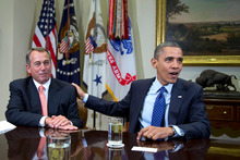 John Boehner (left) and Barack Obama are closer to compromise. Photo / AP