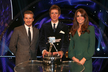 Winner of Sports Personality of the Year 2012, British cyclist Bradley Wiggins with David Beckham, left, and Kate, the Duchess of Cambridge. Photo / AP